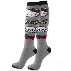 Hello Kitty Skull and Bows Knee Socks