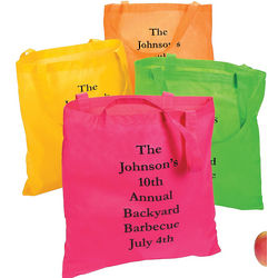 24 Personalized Large Neon Color Tote Bags