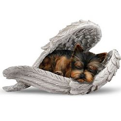 Yorkie Wrapped in Angel Wings Figurine