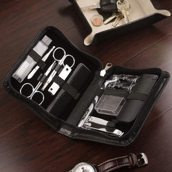 11-Piece Leather Manicure and Shave Set