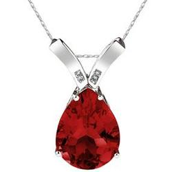 Pear Shaped Garnet and Diamond Pendant in 14K White Gold
