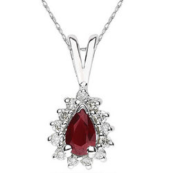 Pear Shaped Garnet and Diamond Flower Pendant in 14k White
