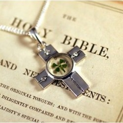 Four Leaf Clover Cross Necklace