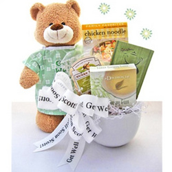 Get Well Gift Basket with Teddy Bear and Soup