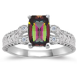 Mystic Topaz Women's Ring in 14K White Gold