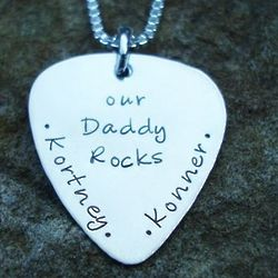 Our Daddy Rocks Guitar Pic Necklace
