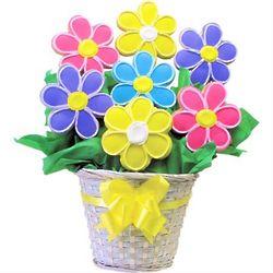 Colorful Flowers Shortbread Cookie Bouquet