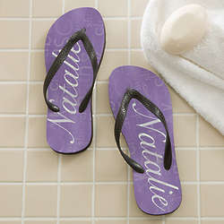 Women's Lavender Spa Personalized Flip Flops