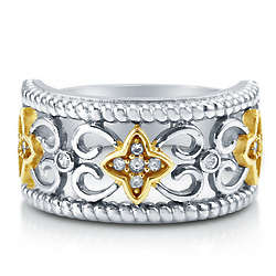 Cubic Zirconia Sterling Silver 2-Tone Filigree Fashion Ring