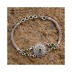 Peridot Halo Pendant Bracelet