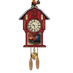 Barnyard Strut Rooster Cuckoo Clock