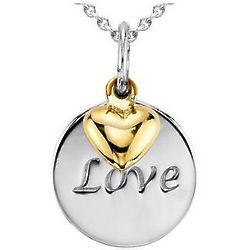 Love Disc Pendant in Sterling Silver with 14K Yellow Gold Heart