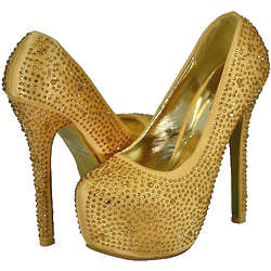 Bella Luna Gold Stud Platform Pumps