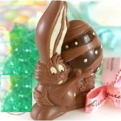Chocolate Easter Bunny Holding a Decorated Egg