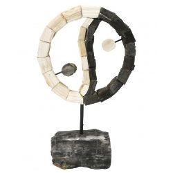 Yin Yang Petrified Wood Sculpture