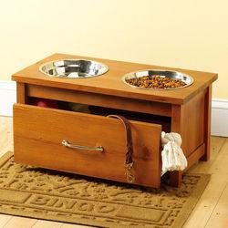 Raised Wooden Pet Feeder and Storage Drawer