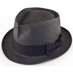 Straw Fedora Hat in Black