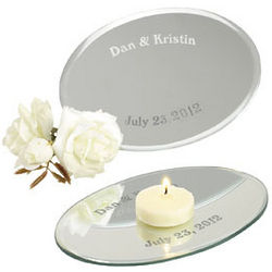One Dozen Personalized Oval Table Mirrors