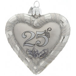 Personalized 25th Anniversary Heart Christmas Ornament