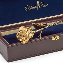 "24k Gold-Dipped Real 11.5"" Rose in Leather Case"