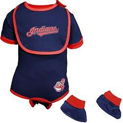 Cleveland Indians Navy Blue Infant Bib and Booties Set