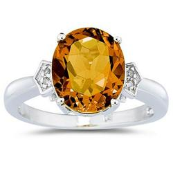 4.50 Oval Cut  Citrine & Diamond Ring in White Gold