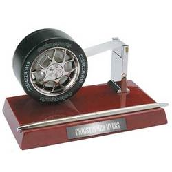 Tire Tape Dispenser and Pen Holder on Wooden Base