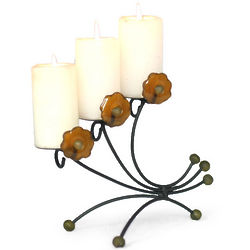Amber Flowers Iron and Recycled Glass Candleholder