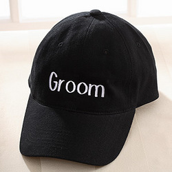 Personalized Wedding Party Embroidered Hat in Black