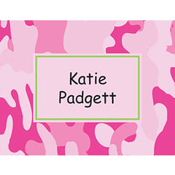 Pink Camouflage Personalized Notecard Set