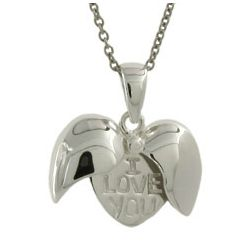 Sterling Silver I Love You Secret Message Heart Pendant