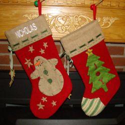 Holiday Burlap Personalized Christmas Stocking