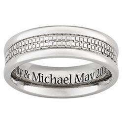 Mens Titanium Beaded Center Engraved Band