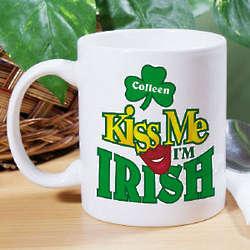 Kiss Me I'm Irish Personalized Coffee Mug