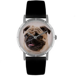 Pug Print Watch with Italian Leather Band