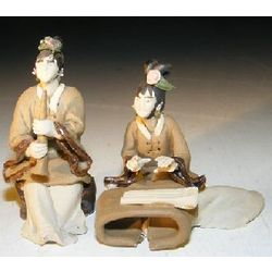 Two Women Playing Instruments Miniature Figurines
