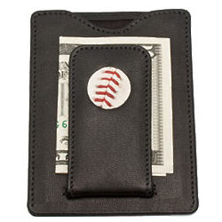 Red Sox Baseball Leather Money Clip
