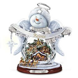 Thomas Kinkade Sn'O Holy Night Crystal Snow Angel Figurine