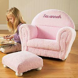 Personalized Pink Chenille Rocker and Ottoman
