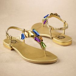 Monaco Gold Leather Jeweled Sandal