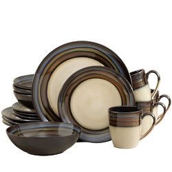 Everyday Galaxy Blue Green & Beige 16 Piece Dinnerware Set