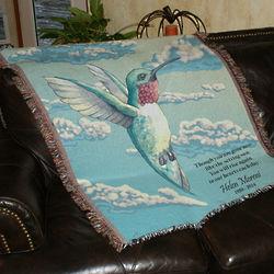Personalized Hummingbird Memorial Throw Blanket