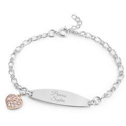 Girl's Personalized Pink Heart ID Bracelet