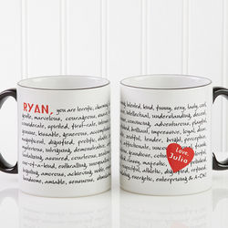Reasons to Love You Personalized Coffee Mug with Black Handle
