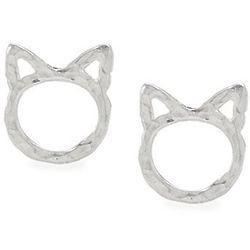 Sterling Silver Kitty Cat Stud Earrings