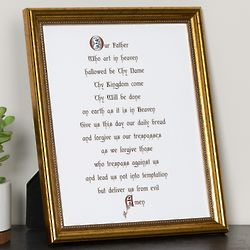 Calligraphy Our Father Framed 8x10 Print