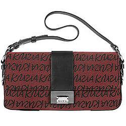 Krizia Signature Canvas and Leather Baguette Bag