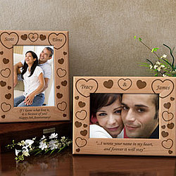 Personalized Both Our Hearts Wooden Picture Frame