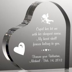 Heart Shape Acrylic Valentine Plaque with Cupid