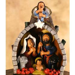 Tree Trunk Christmas Ceramic Nativity Scene